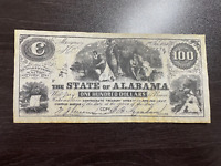 1864 Confederate Currency $100 Dollar State of Alabama Note REPRODUCTION
