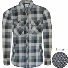 Mens Thick Padded Lumberjack Heavy Padded Quilted Lined Warm Fleece Shirt Jacket