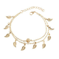Leaf Anklet Leaves Bracelet Chain Silver Gold Foot Beach Barefoot Sandal Decor