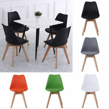 4Pcs Kitchen Dinning Chairs PU Leather Padded Seat Wooden Legs Restaurant Office
