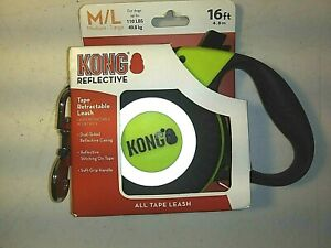 New Kong Retractable Tape Leash- 16 Ft.-Black w/reflective Casing & Brake Button
