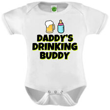 Daddy's Drinking Buddy Beer Onesie ORGANIC Cotton Romper Baby Shower Gift Funny