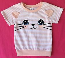 Girls Size 6 Novelty Cat Ears Pail Pink Stripy Cotton Blend Top
