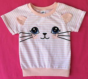 Girls Size 5 Novelty Cat Ears Pail Pink Stripy Cotton Blend Top