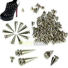 100x10mm +10x26mm Spots Cone Screw Metal Studs Leathercraft Rivet Bullet Spikes