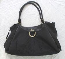 VGUC Authentic Large Black Monogram Canvas GUCCI D-RING HOBO Shoulder Bag