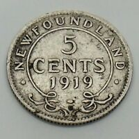 1919 Newfoundland 5 Five Cents Canadian Circulated Coin F758