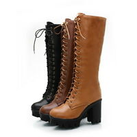 Womens Riding Boots Knee High Boots Lace Up High Chunky Heel Platform Shoes Size
