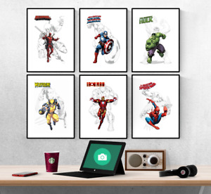 Marvel Avengers Superhero Drawing Set Of 6 Prints Pictures Wall Art Poster