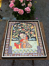 vtg porcelain art mosaic home wall picture made of ceramic tiles table top