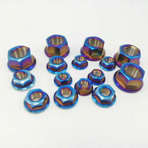 5PCS Burning Blue M5 M6 M8 M10 GR5 Titanium Flange Hex Nut For Motorcycle Bike