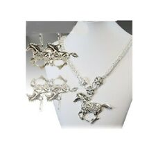 Horse Necklace Earrings Cowgirl Western Rhinestone Bling Jewelry Set Silver Tone