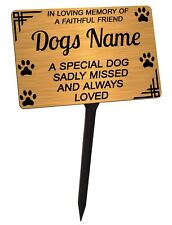 Personalised Dog Memorial Plaque Brushed Gold. Pet. For garden, grave etc