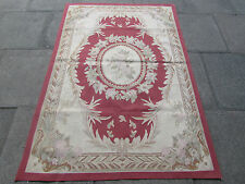 Old Hand Made French Design Wool Red Original Aubusson 182X124cm 6x4