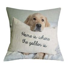 Golden Retriever Linen Dog Printed Pillowcase 17''Cushion Cover Home Decoration