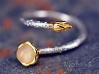 Silberring Knospe Chalcedon Golden Ethno Natur Schmal Ring Silber 925
