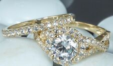 Solid 14k 2.20 CT Yellow Gold Bridal  Round Cut Engagement Ring band set