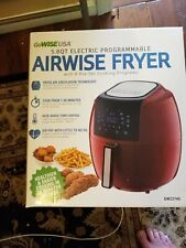 GoWISE USA 5.8 Qt. Electric Air Fryer Touch Screen with 8-Cooking Presets, Red