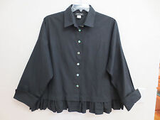 Sophie Finzi New York Cotton Boxy Top, Shirt with Double Ruffle, Black, One Size