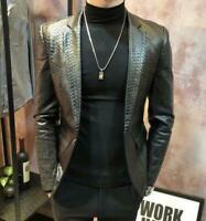 Men Trench Coat Parka Blazer Leather Jacket Outwear Lapel Slim Casual Fashion Sz