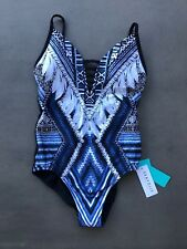"""BNWT Seafolly Deep """"v"""" Maillot One Piece IN Bluestone Size 12 RRP $169.95"""