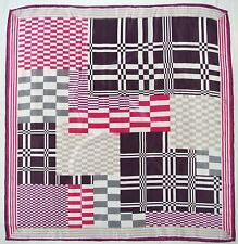 Fashion GEOMETRIC Pink Purple Black Gray CHECKED Crepe Silk Hand Rolled SCARF