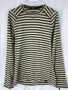 Patagonia Mens Striped Olive Tan Merino Wool Midweight 3 Layer Slim L/S Shirt M