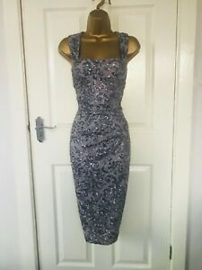 Dorothy Perkins Silver Sequinned Evening Party Midi Wiggle Occasion Dress £55