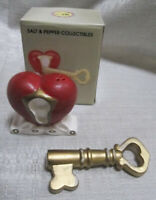 A Heart with a Key Salt and Pepper Shakers ~ Item 333