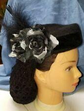 Hat 1860-1880's Black Felt with Black Velvet Ribbon Black and Gray Roses