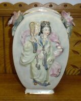 Cordey Art Pottery Vase - Asian / Japanese Woman - Chip On Flower - 8 3/4""