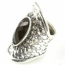 925 Sterling Silver, Handcrafted Black Onyx Marcasite Dress Ring Size 8+ NEW