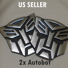 2 x 3D Chrome Autobot 4 Inch Transformers Emblem Badge Decal Car Stickers Truck
