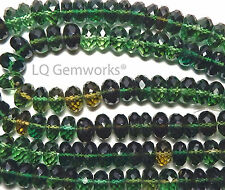"""14"""" GREEN YELLOW QUARTZ 9mm Faceted Rondelle Beads /Q7"""