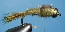 Gold Ribbed Hare's Ear- bead head - Olive -12 flies-# 8, 10, 12. nymph.