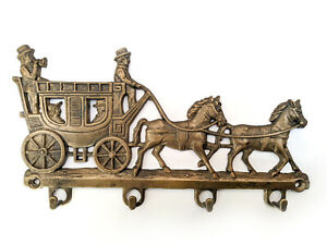 NEW brass key ring holder Horse and coach Metal hooks Key holder for wall