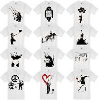 BANKSY Girl Balloon Peace Flower Panda Gun Monkey Soldier Guitar Zebra T-Shirt