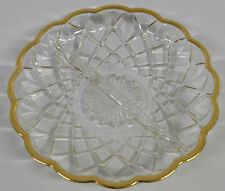 Clear Glass Candy Trinket Dish with Gold Accent Round
