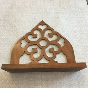 Antique Folk Art Cut-Out Wooden Shelf Made from an Organ by Ed Loring in 1941