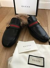 6ad94c719 Gucci Iconic Mens Uk 7 Eu 41 Princetown Leather Slipper Shoes GG Web Wool  Lined