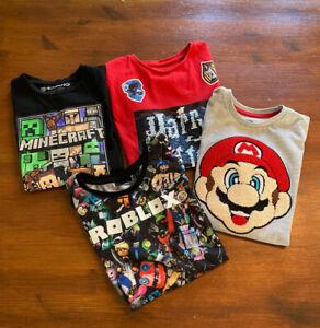 Boys Minecraft, Roblox, Mario & Harry Potter T Shirt Bundle, Age 6-7 Excellent