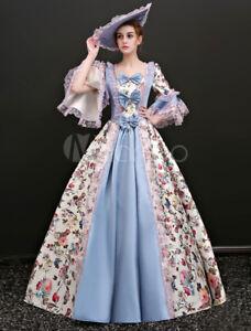 Rococo Vintage Costume Women's Illusion Blue Jacquard Long maxi prom party Dress