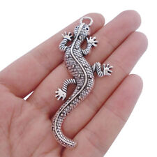 10pcs Antique Silver Large Gecko Lizard Charms Pendants for Jewelry Making