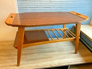 Vintage Folding Coffee Side Table Mid Century Space Age Design Wooden Retro