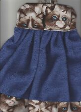 1 Grumpy Cat Kitchen Tie Towel Royal BlueTowel Made Maine Carol's Country Crafts