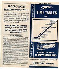 Pennsylvania Greyhound Timetable 1946