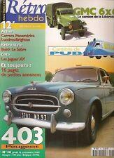 RETRO HEBDO 36 PEUGEOT 403 LUXE 1956 GMC CCKW 353 6X6 CAMION PUB BUICK LE SABRE