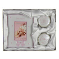 NEW First Tooth 1st Curl Keepsake Boxes Photo Frame Birth Christening Gift Set