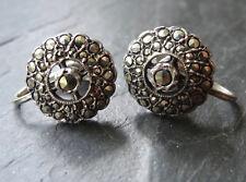 vintage art deco solid SILVER marcasite daisy flower screw clip earrings -D455
