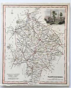 Antique Map 'Warwickshire' Archibald Fullarton c.1840